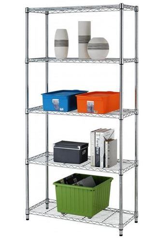 5-TIER ADJUSTABLE STEEL WIRE METAL SHELVING NSF RACK (CHROME)