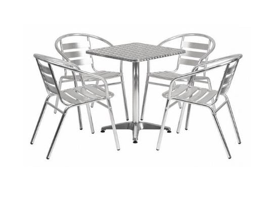 Aluminum Indoor Outdoor Patio Table Set with Matching Slat Back Chairs