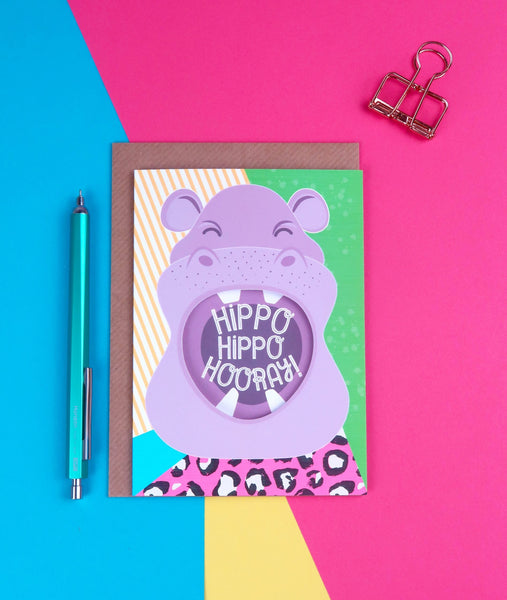 Shouting Hippo Birthday Card