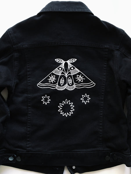 Eradura Hand Embroidered Moth and Stars Black Denim Jacket