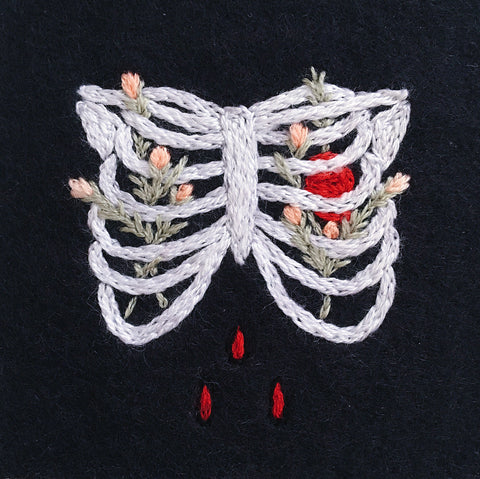Eradura Hand Embroidered Memento Mori Patch with Ribcage and Flowers
