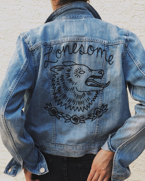 Eradura Hand Embroidered Lonesome Wolf Denim Jacket