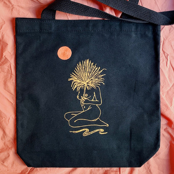 Serpentine Canvas Tote Bag ~ Distant Sun/Moon