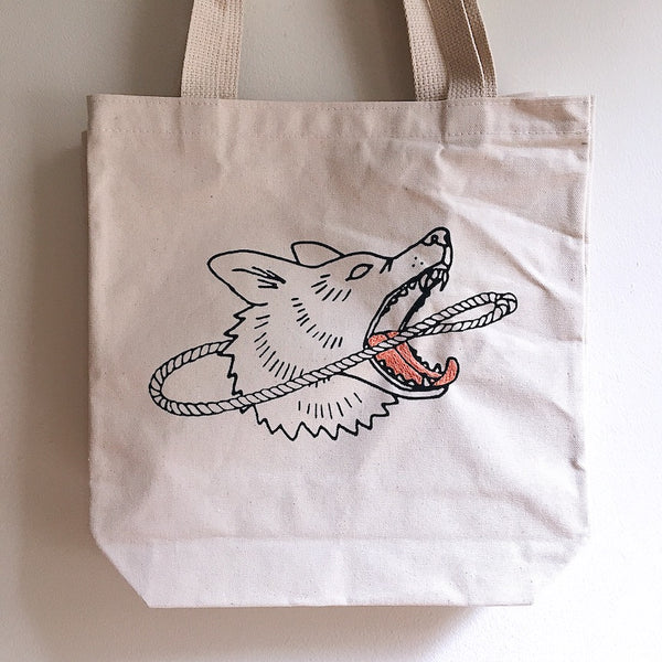 Embroidered Dog & Lasso Tote Bag