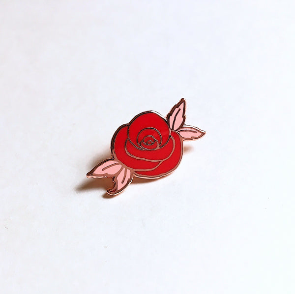 Eradura Desert Rose Enamel Pin in Rose Gold Metallic Finish and Red and Pink Enamel