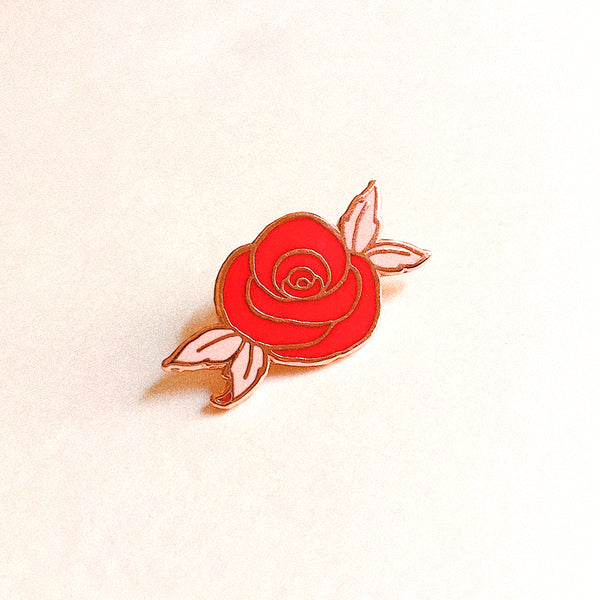 Desert Rose Enamel Pin ~ Red & Rose Gold