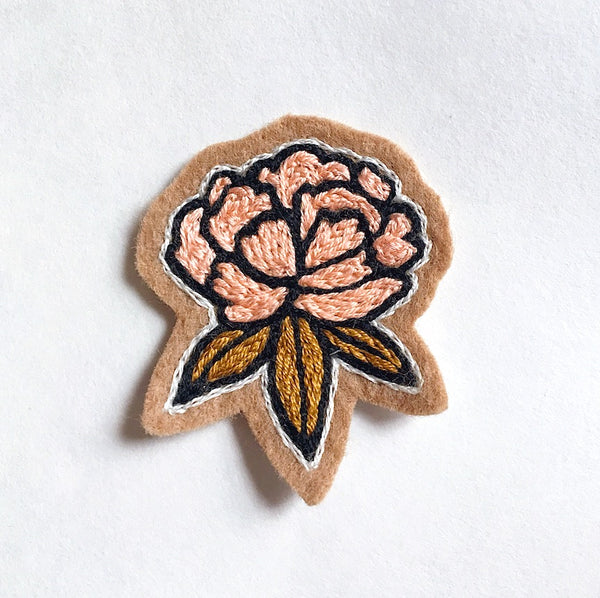Marigold Embroidered Patch Fiber Art