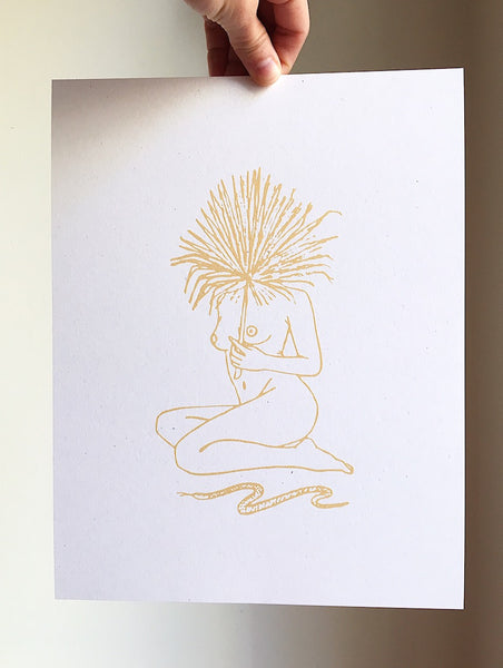 "Serpentine ~ 8.5"" x 11"" Art Print, Metallic Gold"