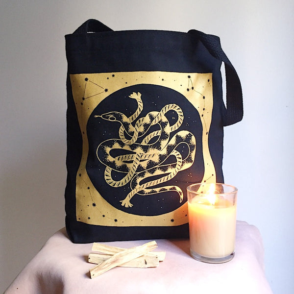 Cosmic Snake Canvas Tote Bag