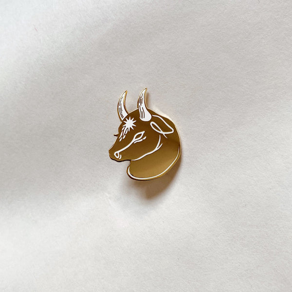 Star-Grazed Bull Enamel Pin