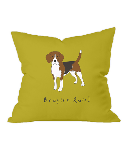 Beagles Rule! Gold Throw Cushion