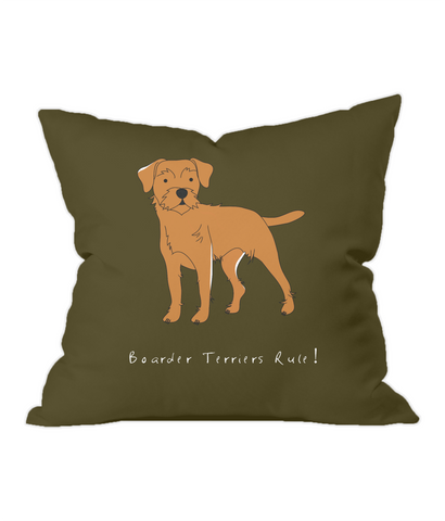 Throw Cushion - Boarder Terriers Rule!