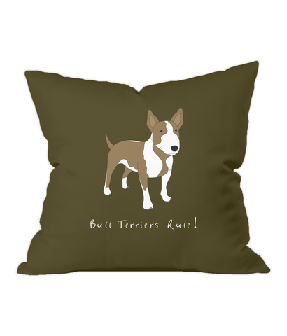 Bull Terriers Rule! Chocolate Throw Cushion