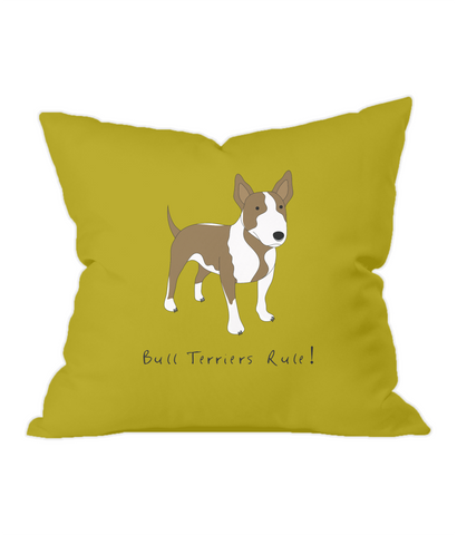 Bull Terriers Rule! Gold Throw Cushion