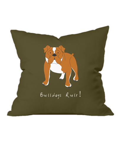 Bulldogs Rule! Chocolate Throw Cushion