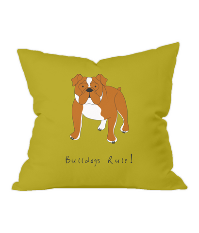 Bulldogs Rule! Gold Throw Cushion