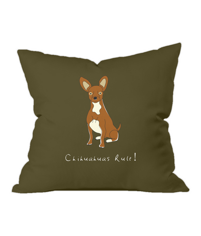 Chihuahuas Rule! Chocolate Throw Cushion