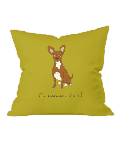 Chihuahuas Rule! Gold Throw Cushion