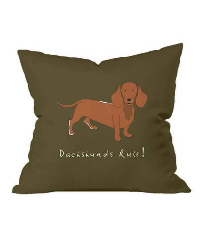 Dachshunds Rule! Chocolate Throw Cushion