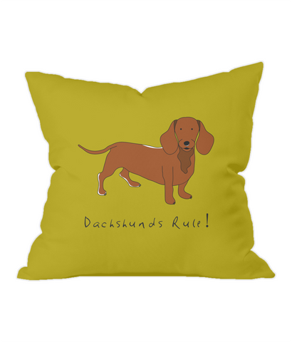 Dachshunds Rule! Gold Throw Cushion