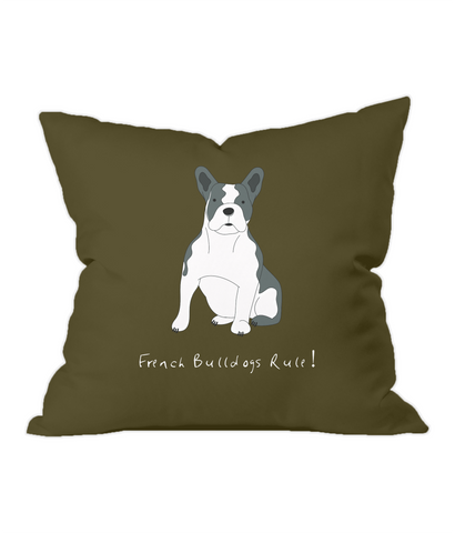 French Bulldogs Rule! Chocolate Throw Cushion