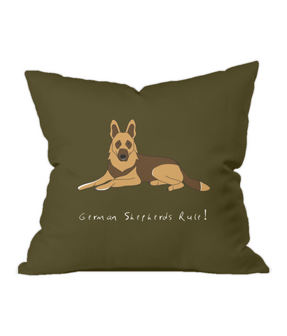 German Shepherds Rule! Chocolate Throw Cushion