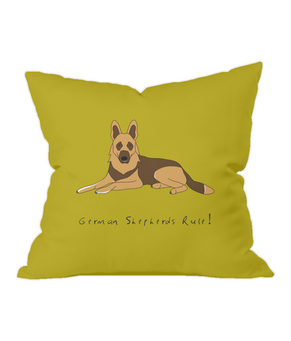 German Shepherds Rule! Gold Throw Cushion.jpg
