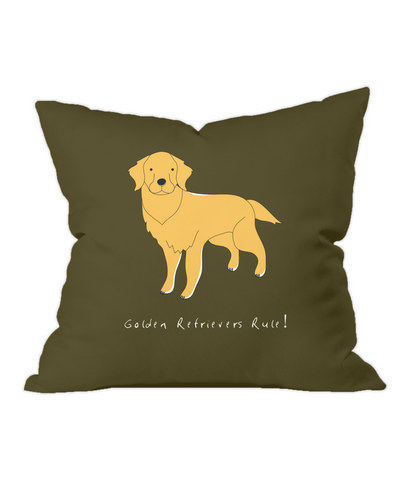 Golden Retrievers Rule! Chocolate Throw Cushion