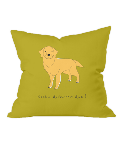 Golden Retrievers Rule! Gold Throw Cushion