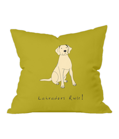 Labradors Rule! Gold Throw Cushion