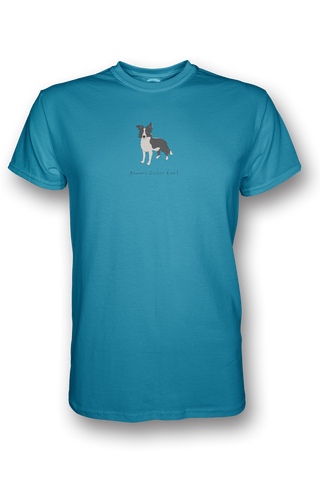 Mens Crew Neck T-Shirt - Boarder Collies Rule! Caribbean Blue
