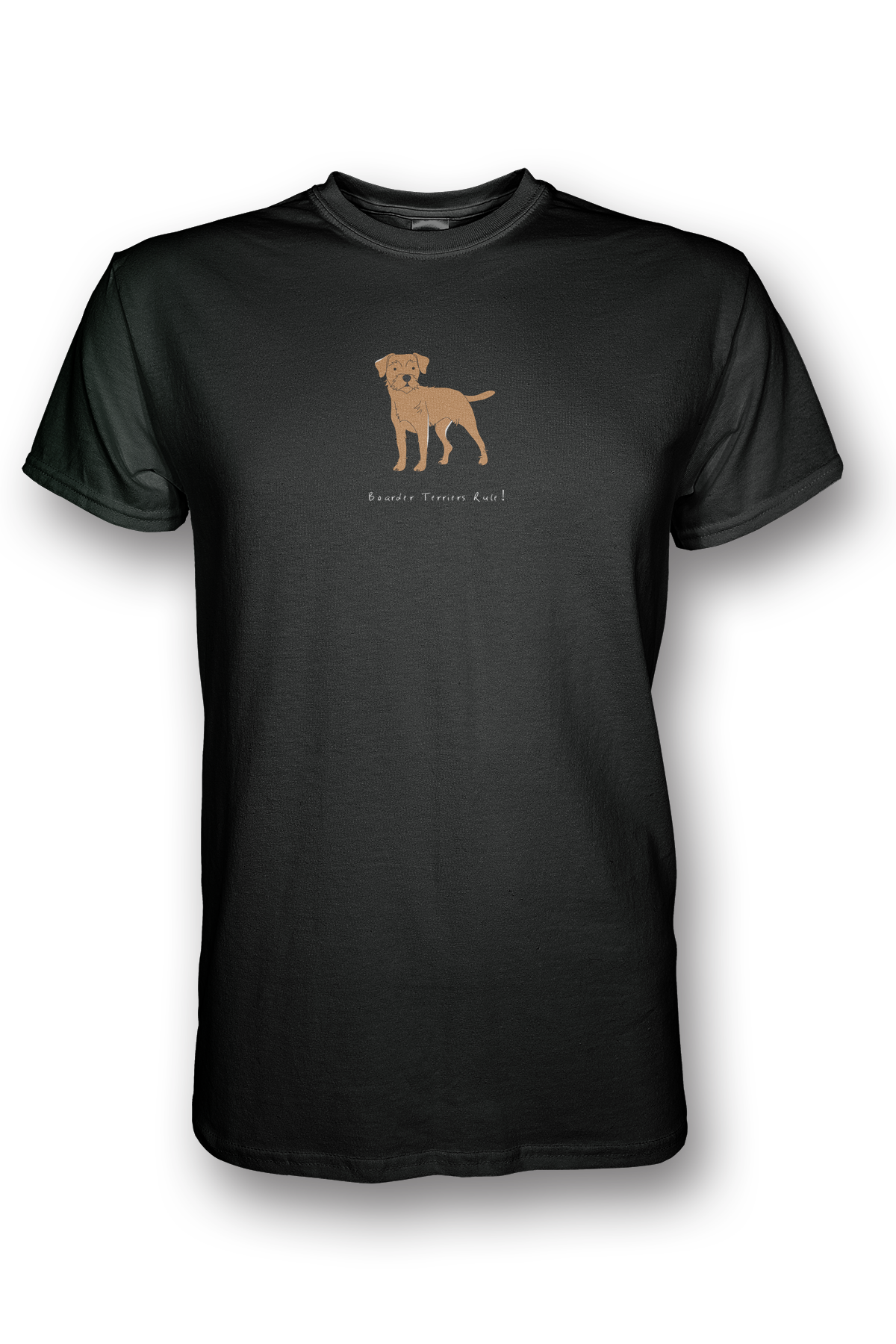 Mens Crew Neck T-Shirt - Boarder Terriers Rule! Black