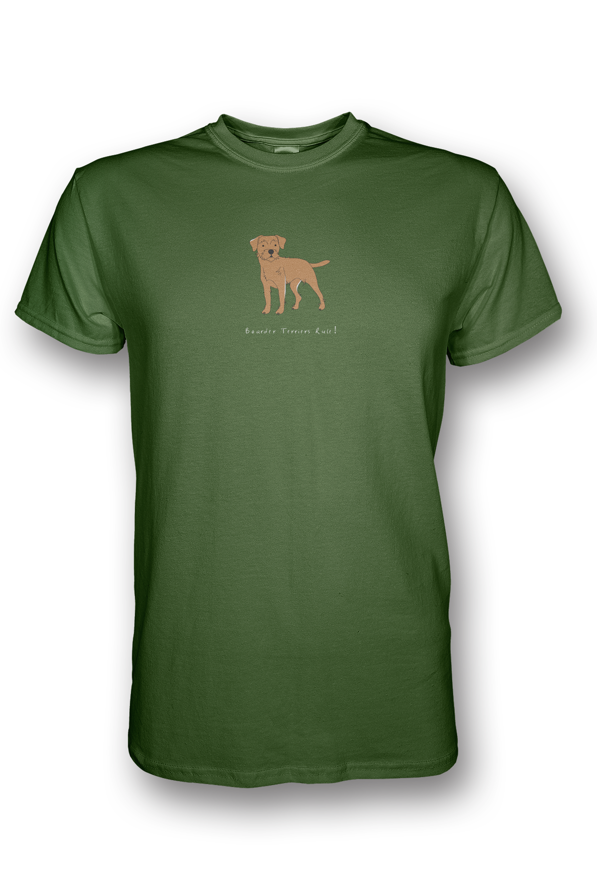 Mens Crew Neck T-Shirt - Boarder Terriers Rule! Green Apple