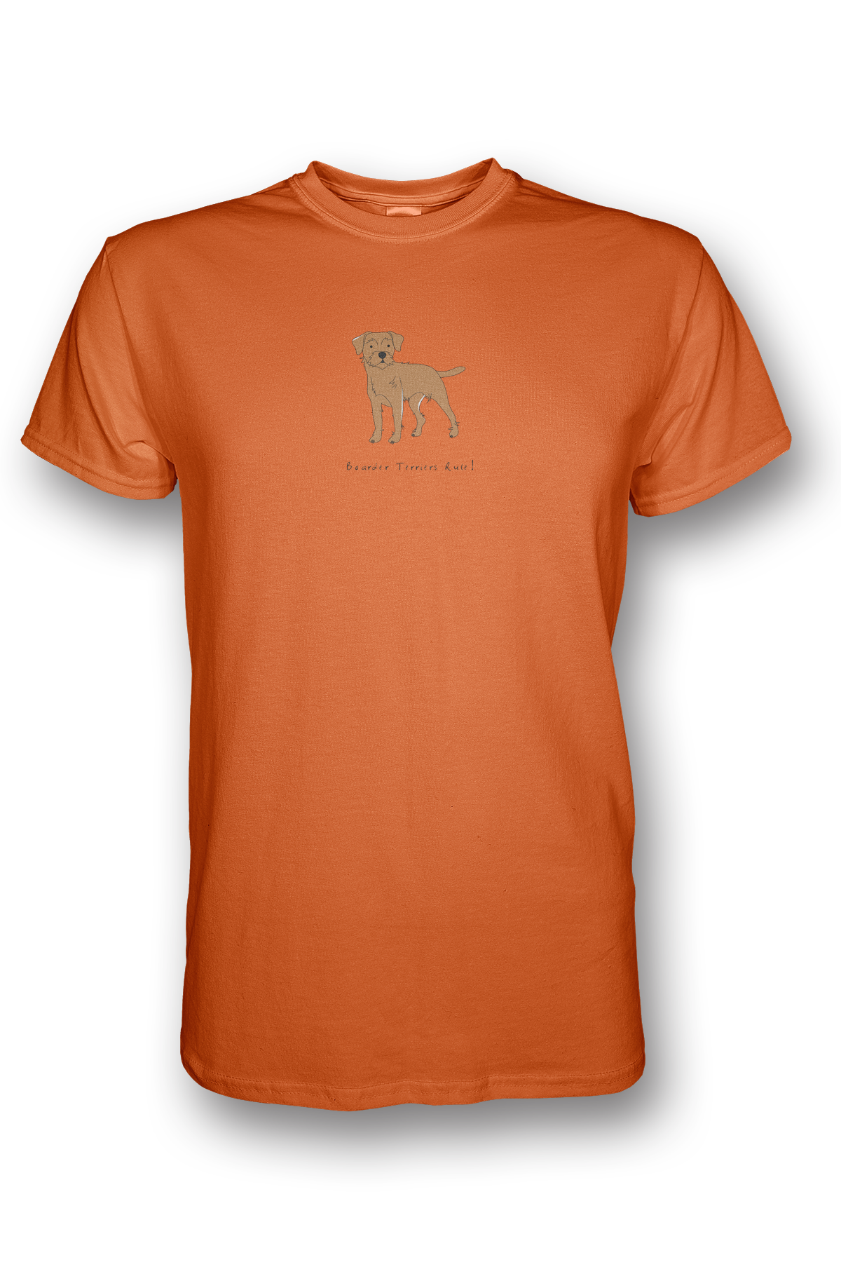 Mens Crew Neck T-Shirt - Boarder Terriers Rule! Neon Orange