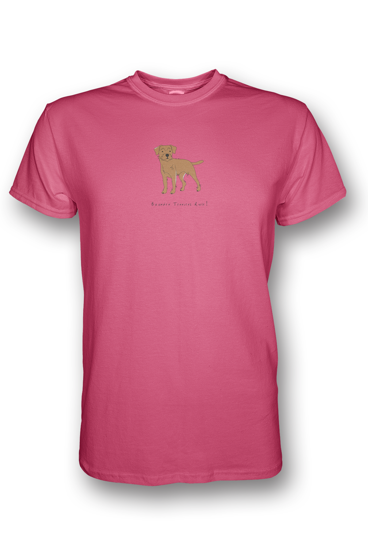 Mens Crew Neck T-Shirt - Boarder Terriers Rule! Neon Pink