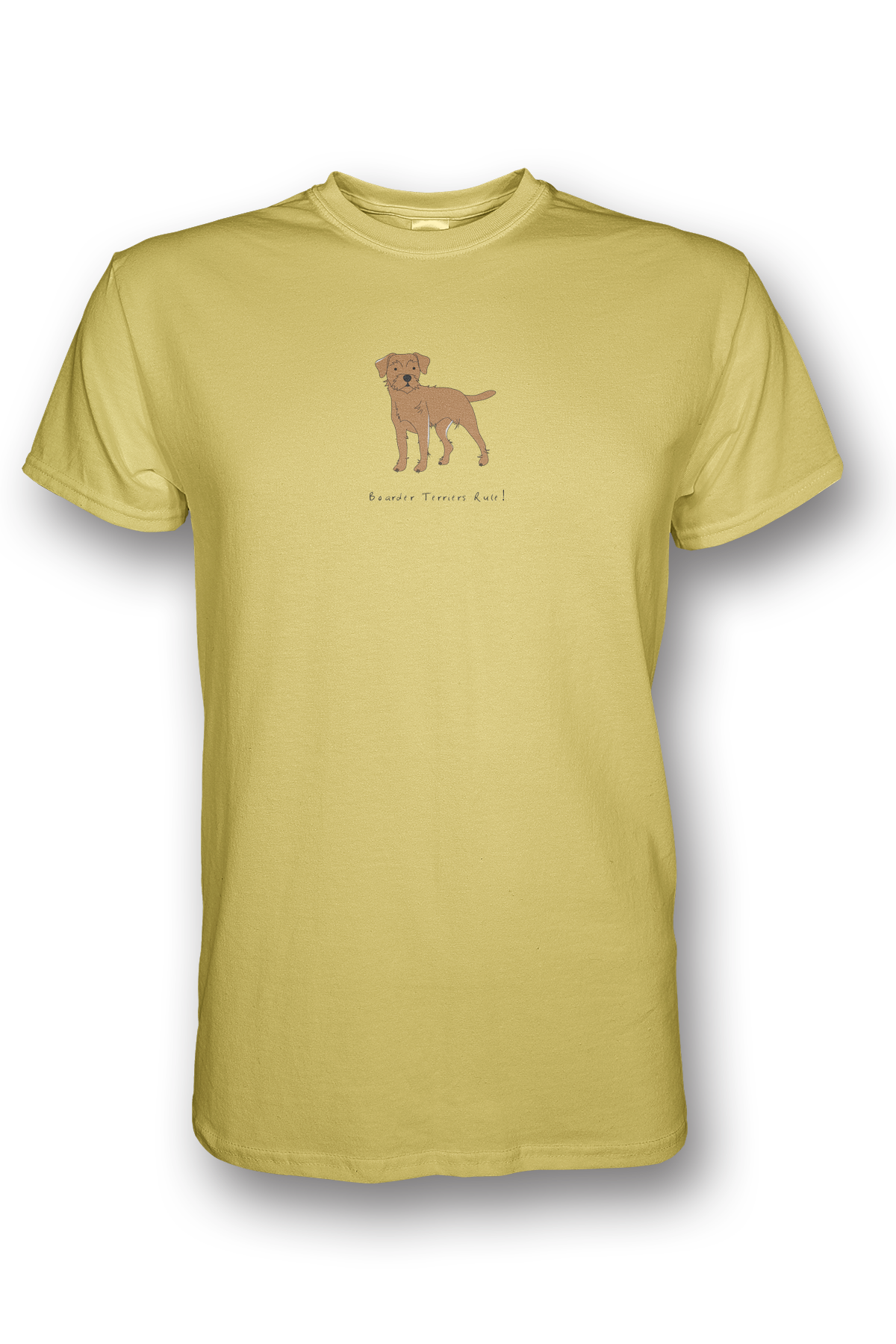 Mens Crew Neck T-Shirt - Boarder Terriers Rule! Spring Yellow