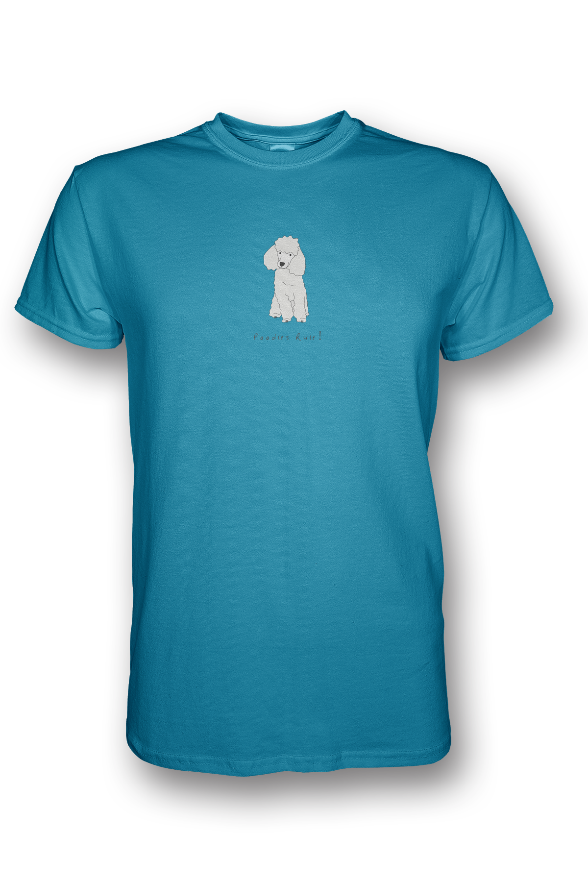 Mens Crew Neck T-Shirt - Poodles Rule! Caribbean Blue