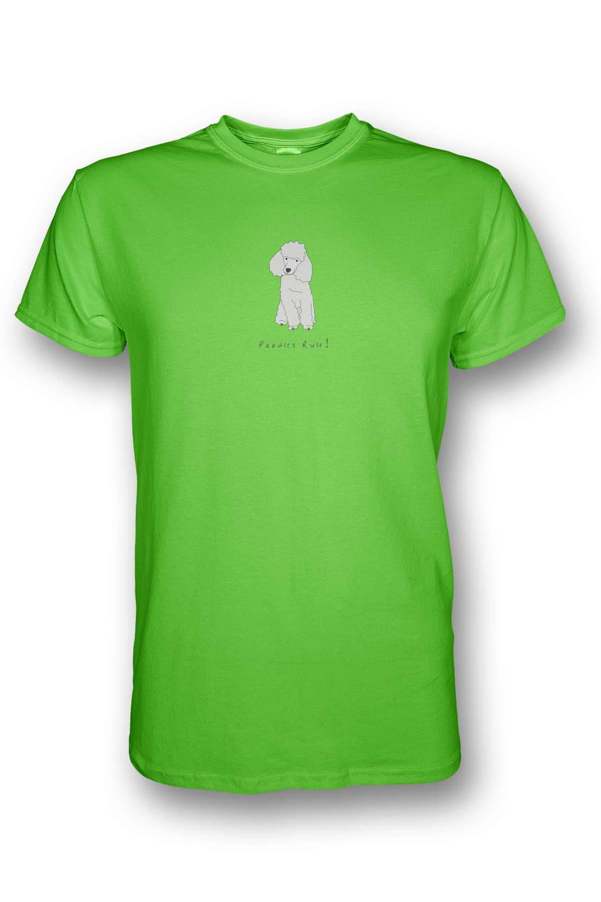 Mens Crew Neck T-Shirt - Poodles Rule! Neon Green