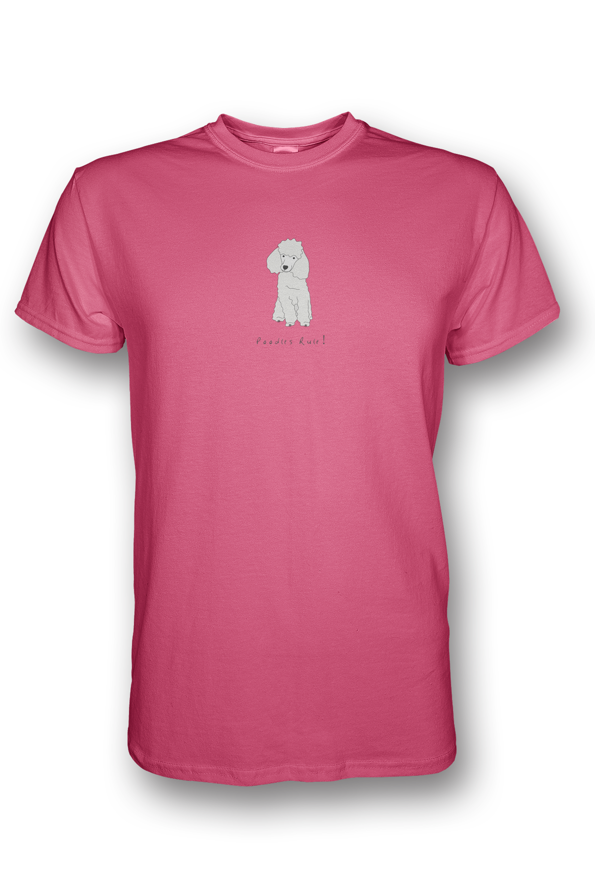 Mens Crew Neck T-Shirt - Poodles Rule! Neon Pink