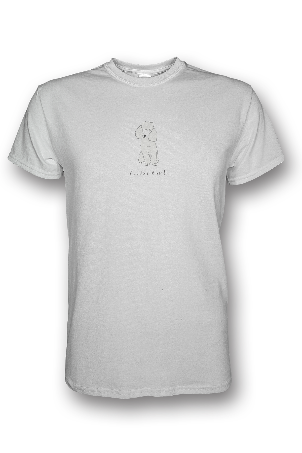 Mens Crew Neck T-Shirt - Poodles Rule! White