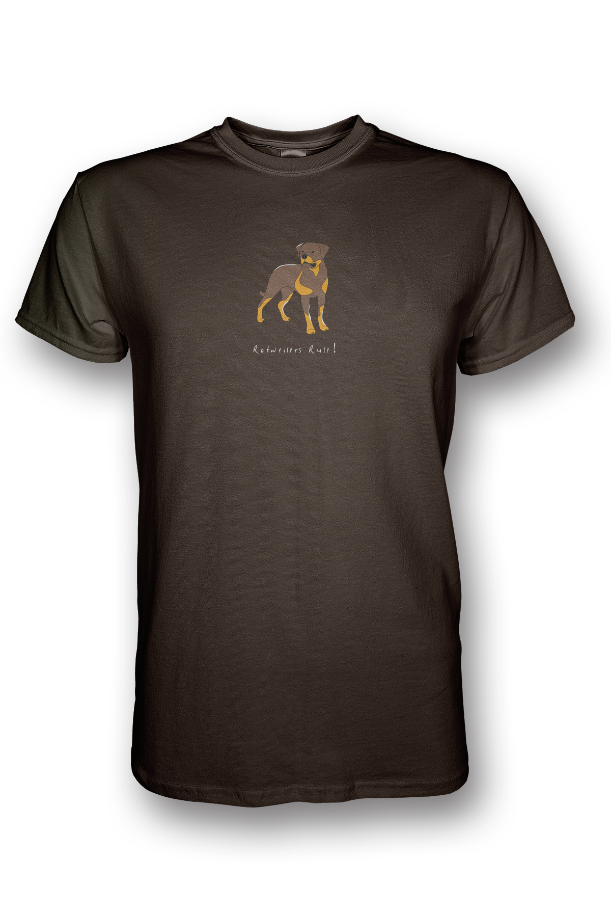 Mens Crew Neck T-Shirt - Rotweilers Rule! Chocolate