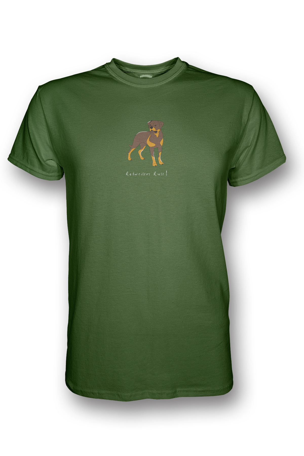 Mens Crew Neck T-Shirt - Rotweilers Rule! Apple Green
