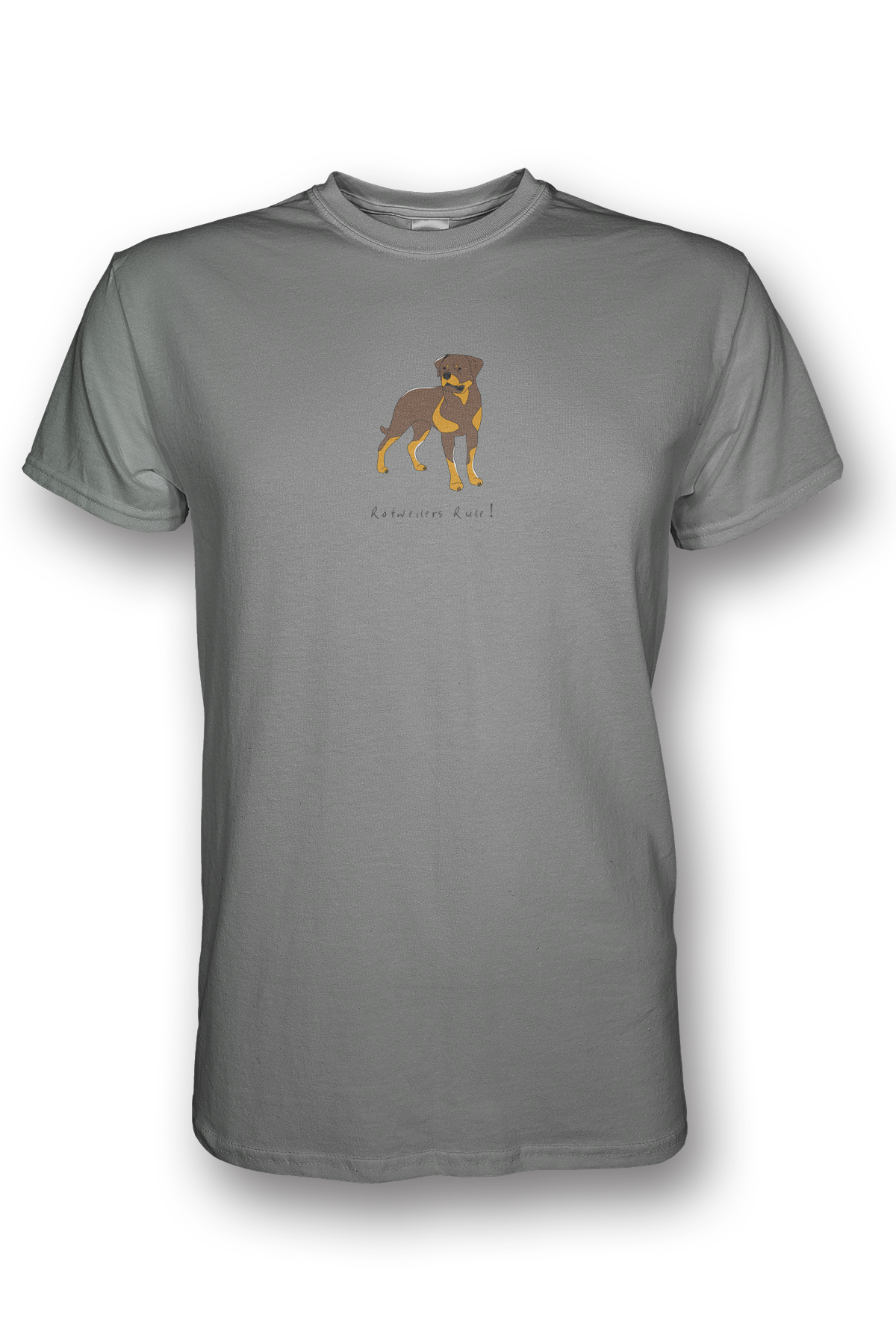 Mens Crew Neck T-Shirt - Rotweilers Rule! Heather Grey