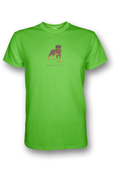 Mens Crew Neck T-Shirt - Rotweilers Rule! Neon Green