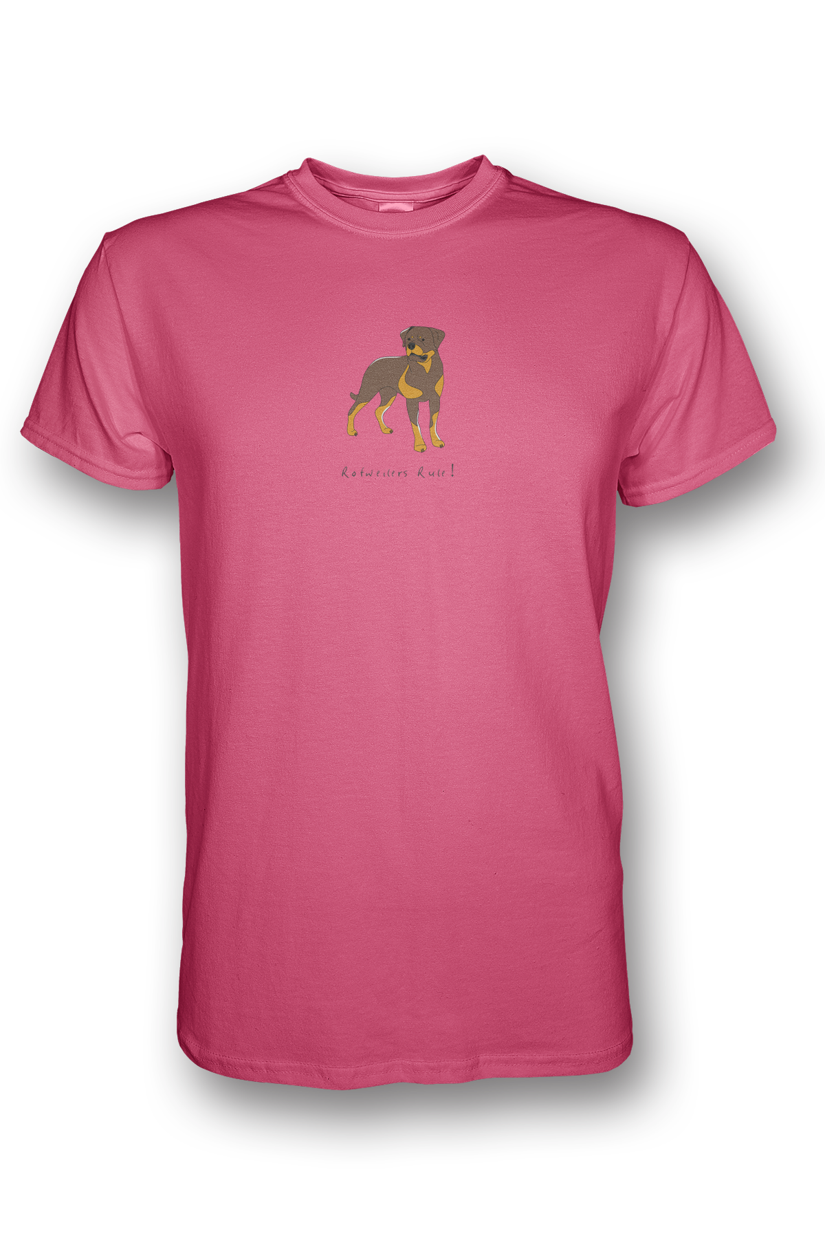 Mens Crew Neck T-Shirt - Rotweilers Rule! Neon Pink