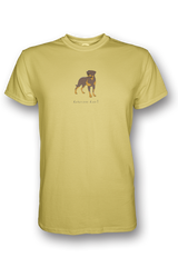 Mens Crew Neck T-Shirt - Rotweilers Rule! Spring Yellow