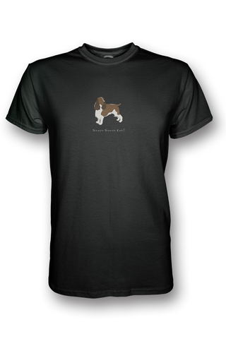 Mens Crew Neck T-Shirt - Springer Spaniels Rule! Black