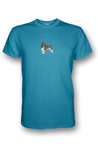 Mens Crew Neck T-Shirt - Springer Spaniels Rule! Caribbean Blue