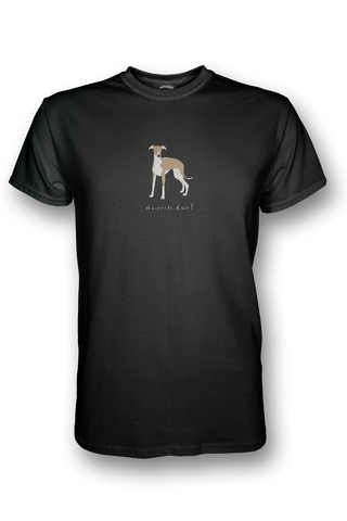 Mens Crew Neck T-Shirt - Whippets Rule! Black