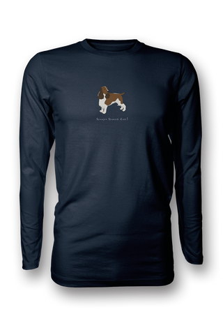 Mens Long Sleeve T-Shirt - Springer Spaniels Rule! Navy
